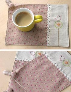 too lovely to use.pOtHoLdErS or pLaCeMaTs the fabric covered buttons ;-) Could be a cute mug rug too. Fabric Crafts, Sewing Crafts, Sewing Projects, Sewing Ideas, Small Quilts, Mini Quilts, Creation Couture, Cute Mugs, Deco Table