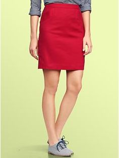 Textured, red pencil skirt | Gap  Out of size, but a red pencil skirt would be fun.