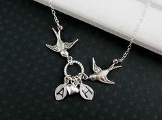 Bird Necklace  Initial Jewelry  Personalized by JewelryStyles, $36.00
