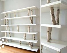 12 Unique DIY Projects Featuring Birch Wood Birch branches as supports for shelves. (I should really probably start to worry about how many times I pin lovely bookshelves, right? Home Goods Decor, Diy Home Decor, Decor Room, Bedroom Decor, Rama Seca, Birch Branches, Birch Logs, Birch Trees, Birch Bark