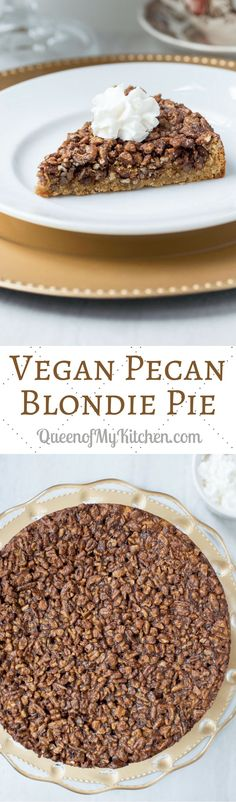 Vegan Pecan Blondie Pie - Lightly spiced candied pecans, on top of a sweet, tender blondie base, make this delicious mock pecan pie. Gluten-free, dairy-free, no refined sugar.   QueenofMyKitchen.com #pecanpie #pecanpierecipe #Thanksgiving #vegan #dairyfree #glutenfree #norefinedsugar Vegan Dessert Recipes, Delicious Vegan Recipes, Healthy Desserts, Delicious Desserts, Vegetarian Recipes, Vegan Whipped Cream, Vegan Pie, Candied Pecans, Vegan Treats