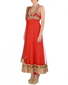 Scarlet Anarkali Suit with Embellished Yoke
