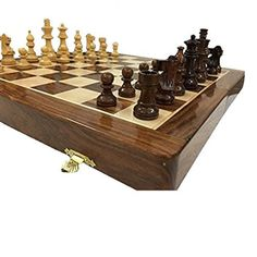 Indian Handicraft 14 X 14 inch Folding Hand Carved Wood Chess Board With Magnetic Piece With Premium Quality Playing Chess Christmas gift. Chess Pieces, Green Velvet, Wood Grain, Handicraft, Natural Wood, Hand Carved, Christmas Gifts, Product Description, Carving