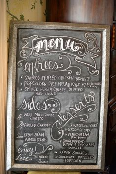 Chalkboard menu sign! see more of this pastel vintage wedding on @WeddingWire! | Lauren Carroll Photography