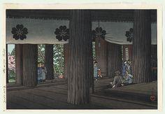 Kawase Hasui (1883 - 1957) | Zao Hall, Yoshino, 1950