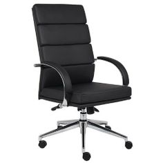 Boss B9401-BK Caressoftplus Executive Series Chair by BOSS. $189.99. Upholstered with breathable caressoftplus. High crown chrome base. 2 paddle spring tilt mechanism with infinite lock. Gas lift seat height adjustment. Adjustable tilt tension control. Hooded double wheel casters. Chrome arms with padded arm rests.