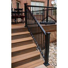 Aria Railing 36 in. x 6 ft. Bronze Powder Coated Aluminum Preassembled Deck Stair Railing - - The Home Depot Porch Step Railing, Wrought Iron Porch Railings, Exterior Stair Railing, Outdoor Stair Railing, Front Porch Steps, Porch Stairs, Deck Railings, Stairway Railing Ideas, Metal Stair Railing