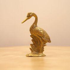 Solid brass crane statue / Vintage sculpture / figurine