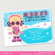 Winter Zebra Pool Party Birthday Invitation by PinkPickleParties, $10.00