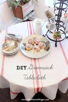 DIY grainsack tablecloth somuchbetterwithage.com
