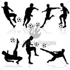 Set Of Silhouettes Of Soccer Players In Various...