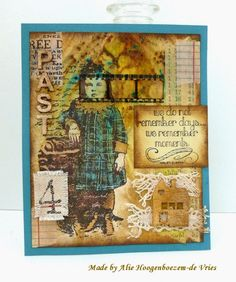 Vintage card with Stamps, Bister and Distress Ink, made by Alie Hoogenboezem-de Vries