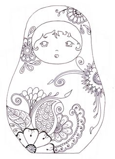 Matryoshka / coloriage * Abstract Doodle Zentangle Paisley Coloring pages… Baby Motiv, Matryoshka Doll, Kokeshi Dolls, Coloring Book Pages, Coloring Sheets, Art Plastique, Printable Coloring, Paper Dolls, Embroidery Patterns