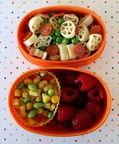 quick pasta salad for lunch by tossing it with peas, mini pepperoni and a little oil and vinegar. I also packed soycatash and raspberries.