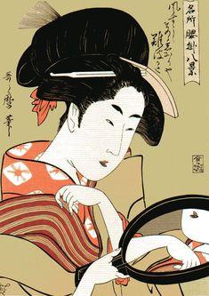 Okita of the Naniwaya Teahouse by Kitagawa Utamaro Ukiyo-e (Woodblock Print) Japanese Artwork, Japanese Painting, Japanese Prints, Japanese Woodcut, Art Asiatique, Mirror Art, Art Institute Of Chicago, Japan Art, Woodblock Print