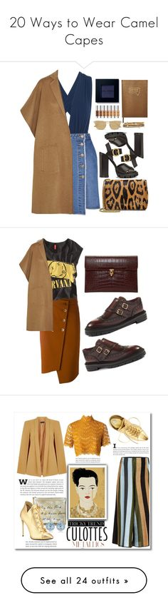 """""""20 Ways to Wear Camel Capes"""" by polyvore-editorial ❤ liked on Polyvore featuring waystowear, camelcapes, ViX, Steve J & Yoni P, Jérôme Dreyfuss, Le Specs, Prada, Alexander McQueen, TIBI and Sloane Stationery"""