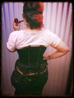 Corset action going on Steampunk Hairstyles, Temporary Hair Color, Dead Makeup, 100 Human Hair Extensions, Steampunk Fashion, Corset, Stylists, Dreadlocks, Action
