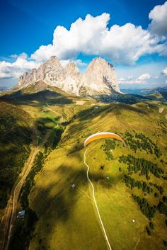 Paraglider in front of the Langkofel group of the Dolomites, Italy South Tyrol Trentino-Alto Adige