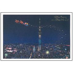 Greeting Life Mini Santa Sepia Christmas Card Night view of Tokyo
