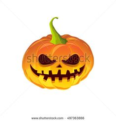 pumpkin for the holiday Happy Halloween, vector illustration isolated on white background