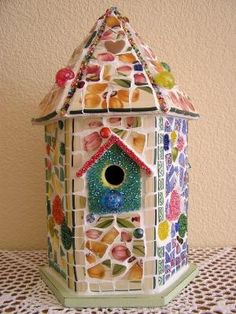 Image detail for -Mosaic Birdhouse Broken Ceramic China and Seed by PalsCreations by SAburns