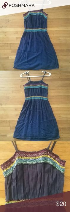 NWOT ella moss dress Super pretty navy blue crinkle style sundress with multicolor embroidery detail stitching. Slightly banded at waist for fit. Ella Moss brand size XS. Hippie boho style for beach, fun, festies and more. Can be dressed up or down, has lining! Never worn, will be washed prior to shipping only :) Ella Moss Dresses