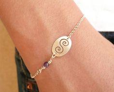 Tiny Charm Personalized Bracelet, Dainty Sterling Silver Bracelelet with Openwork Connector, Simple Bracelet, Minimalist Thin Bracelet