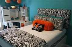 teal and zebra bedroom - Google Search