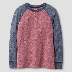 Boys' Long Sleeve Raglan Henley T-Shirt Red - Cat & Jack™ : Target