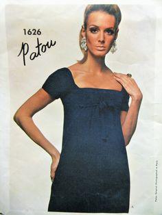 Vintage Vogue 1626 Sewing Pattern, Patou Dress, 1960s Dress Pattern, Empire Waist Dress, Designer, SEW IN LABEL, Bust 34, Paris Original by sewbettyanddot on Etsy