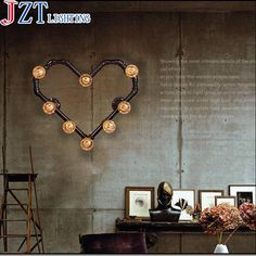 M Best Price American Retro Iron Pipe Wall Lamp E27 Bar Heart-Shaped Clothing Shop Barber Shop Decoration Lamp Can Be Customized