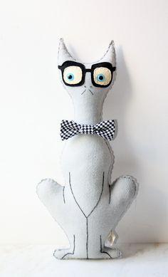 For Anna. Grey Stuffed Plush Felt Cat, Gray Cat Pillow, Smarty Cat Stuffed Animal With Bowtie