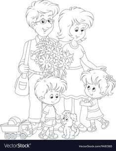 Happy family together vector image on VectorStock Cool Art Drawings, Cartoon Drawings, Cute Coloring Pages, Coloring Books, Sunday School Coloring Pages, Children Sketch, Bunny Drawing, Family Fun Games, Family Drawing
