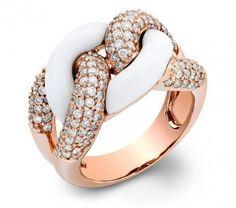 London Manori 14k rose gold ring with white onyx & diamond