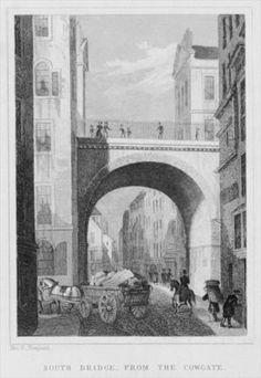 South Bridge from the Cowgate, Edinburgh engraved by William Watkins, 1831 (engraving) (b/w photo) Wall Art & Canvas Prints by Thomas Hosmer Shepherd