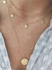 Layered Sequin Moon Choker Silver Gold Diamond Chain Drop Necklace UK Seller