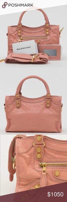 Balenciaga small classic giant city pink rose NWT 💯 AUTHENTIC  🎀 BRAND NEW ⛔️ NO TRADES  ⬇️ DISCOUNTED  ✈️ SHIPS QUICKLY   AUTHENTICITY AND QUALITY WILL BE VERIFIED BY POSHMARK CONCIERGE PRIOR TO BUYER RECEIVING THEIR ORDER.   Prior to purchasing the bag, try it in person at your local boutique or department shop to make sure that you are happy with the size and overall look. If you ask for dimensions, it means you have no idea what you're buying.   Serious inquiries only! Balenciaga Bags…