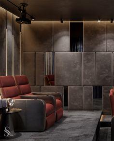 Мечта детства любого мужчины - домашний кинотеатр. Можно наслаждаться любимым фильмом на большом экране прямо у себя дома! Объемный звук, специальным освещение и шикарные кресла создадут полное погружение в мир кино. Осталось купить попкорн и позвать друзей! Читайте статью в нашем блоге. #studia54 #interiordesign #designideas #inspiration #art #decor #cinema Home Theater Room Design, Home Cinema Room, Home Theater Rooms, Theatre Design, Home Theater Furniture, Hotel Restaurant, Entertainment Room, Interiores Design, Luxury Furniture