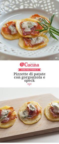 Pizzette di patate con gorgonzola e speck