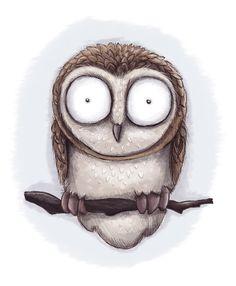 'Owl' by Katya Mamaeva aka BlackBunny Owl Illustration, Ink Illustrations, Picasso, Owl Books, Arte Sketchbook, Halloween Painting, Comic, Fairytale Art, Cute Owl