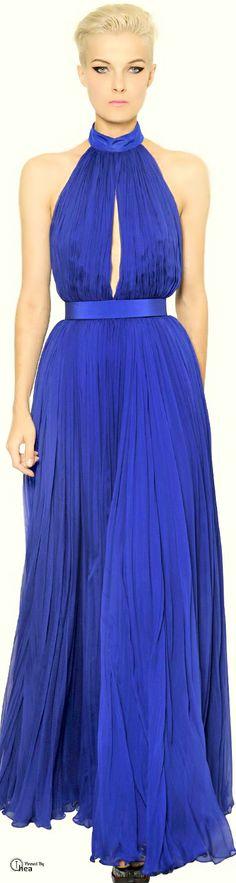 Alexander McQueen ● Blue Halter Gown   jaglady