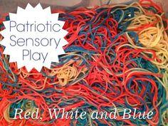 Red, White and Blue Spaghetti: Edible Sensory Play