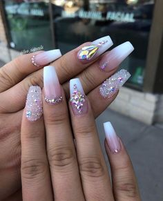 French my nails in 2019 nails wedding nails french nails Bling Nail Art, Rhinestone Nails, Bling Nails, Swarovski Nails, Rhinestone Nail Designs, Nail Crystal Designs, 3d Nails, Crystal Rhinestone, Diamond Nail Designs