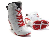 Air Jordan 6 VI Womens Heels Ankle Boots 2012 White Red On Sale Discounted