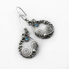 Labradorite and sterling silver earrings, handmade with natural gemstones. $44.00, via Etsy.