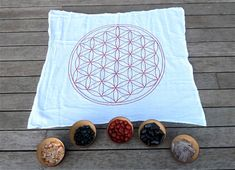 XLarge Crystal Grid Cloth  flower of life  100% cotton, all natural soft white, reclaimed ink