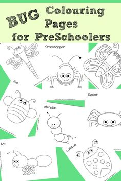 8 Free Bug Colouring Pages, perfect for Preschoolers is part of Preschool crafts Bugs - The cutest FREE Bug Colouring Pages for Preschoolers These 8 little Bug colouring sheets are just too cute and the kids will love to explore and colour! Bug Coloring Pages, Coloring For Kids, Colouring Sheets, Simple Coloring Pages, Preschool Coloring Pages, Insect Crafts, Bug Crafts, Bug Activities, Spring Activities