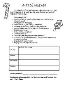 FREE Acts of Kindness Worksheet