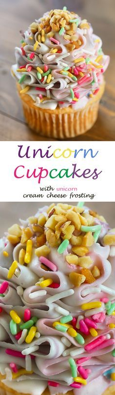 Unicorn Cupcakes - Cherry and almond cupcakes with beautiful purple, pink and blue swirled frosting. Topped with pastel sprinkles and nuts.  Perfect for a party, bridal shower, baby shower or mystical party.