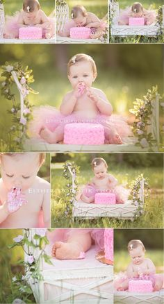 one year old photography, cake smash photography, maybe hold the ribbon banner in the background
